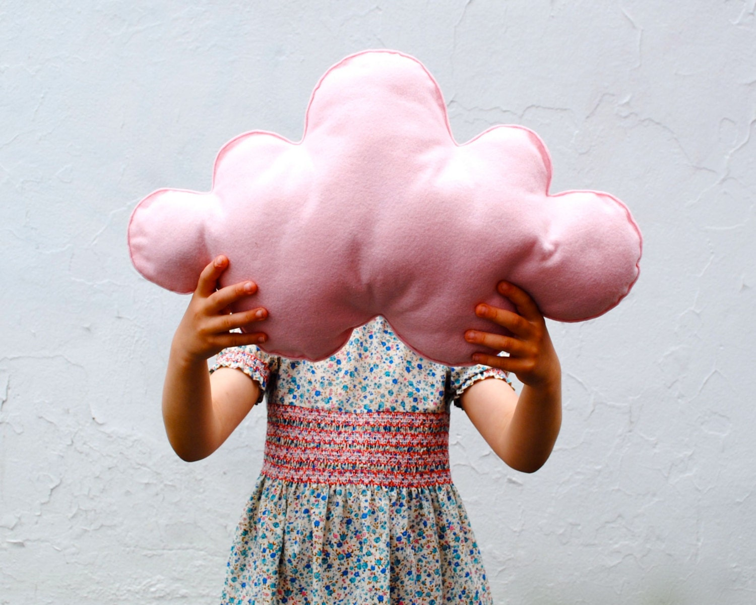 Pink Cloud Pillow - AS SEEN on Cover of Today's Parent - Wool Cushion - Kids Bedroom Decor Accent Pillow - Baby Girls Dreamy Decoration - SewnNatural