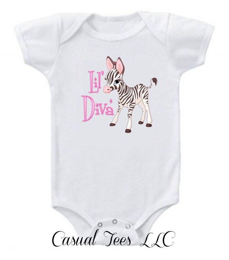 Little Diva Baby Zebra Funny Baby Bodysuit  for Baby Girl - CasualTeeCo