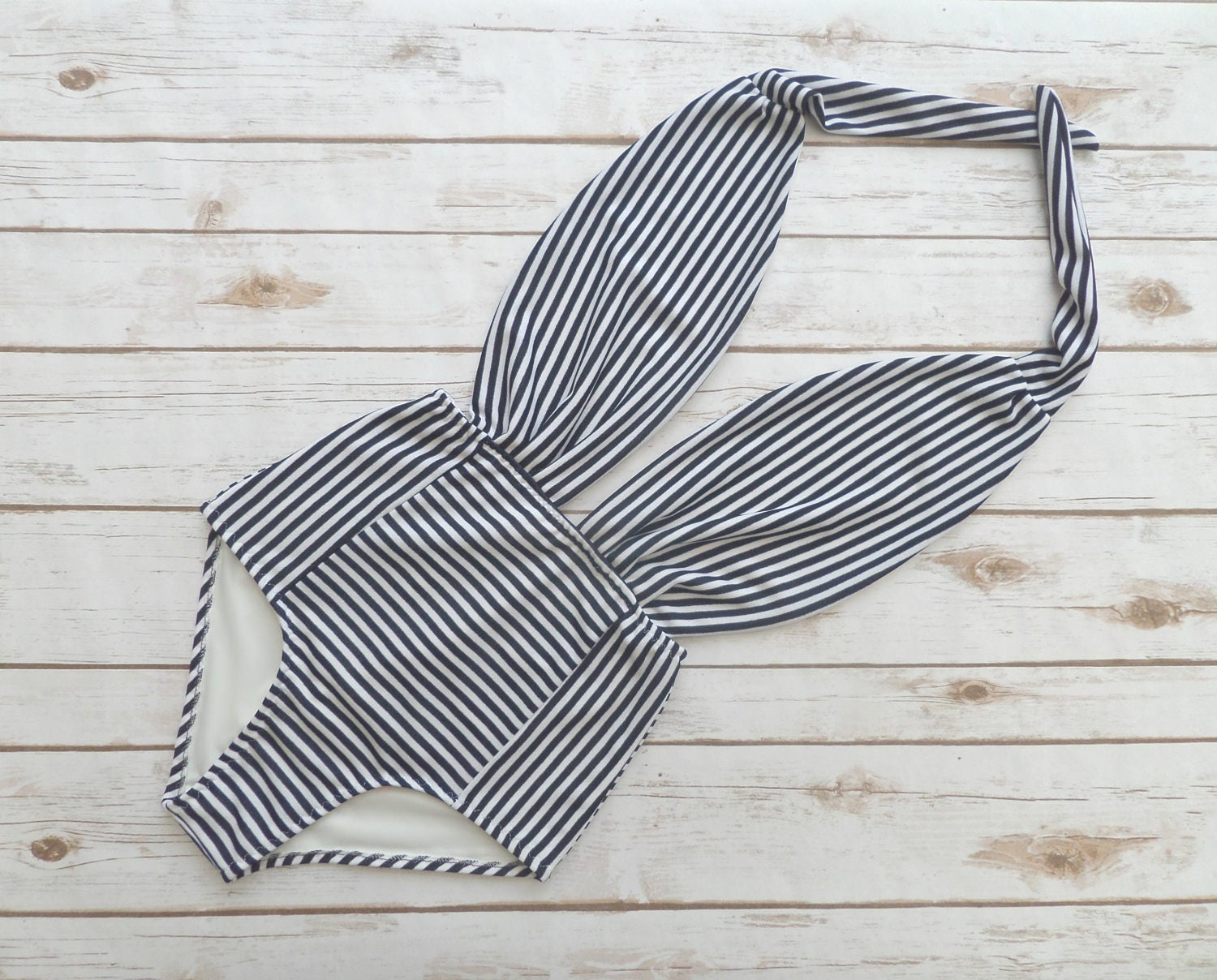 Swimsuit High Waisted Vintage Style One Piece Pinup Bathing Suit  Nautical Sailor Style Navy and White Striped Retro Backless Swimwear