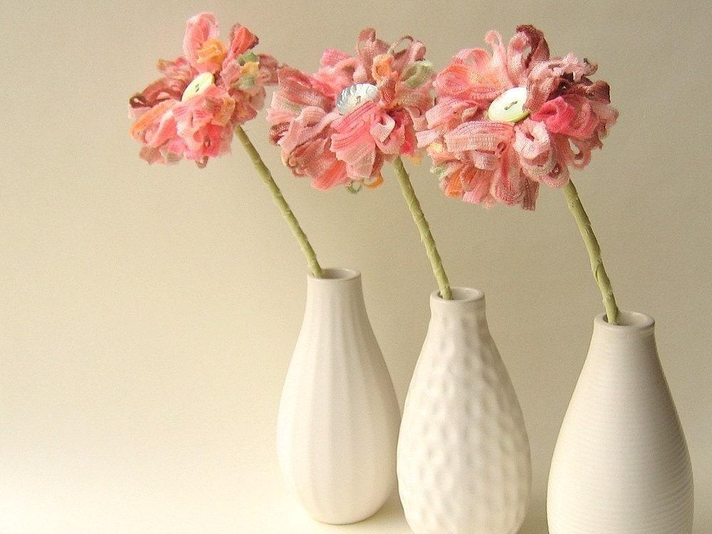 3 Rosebud Pink Flowers