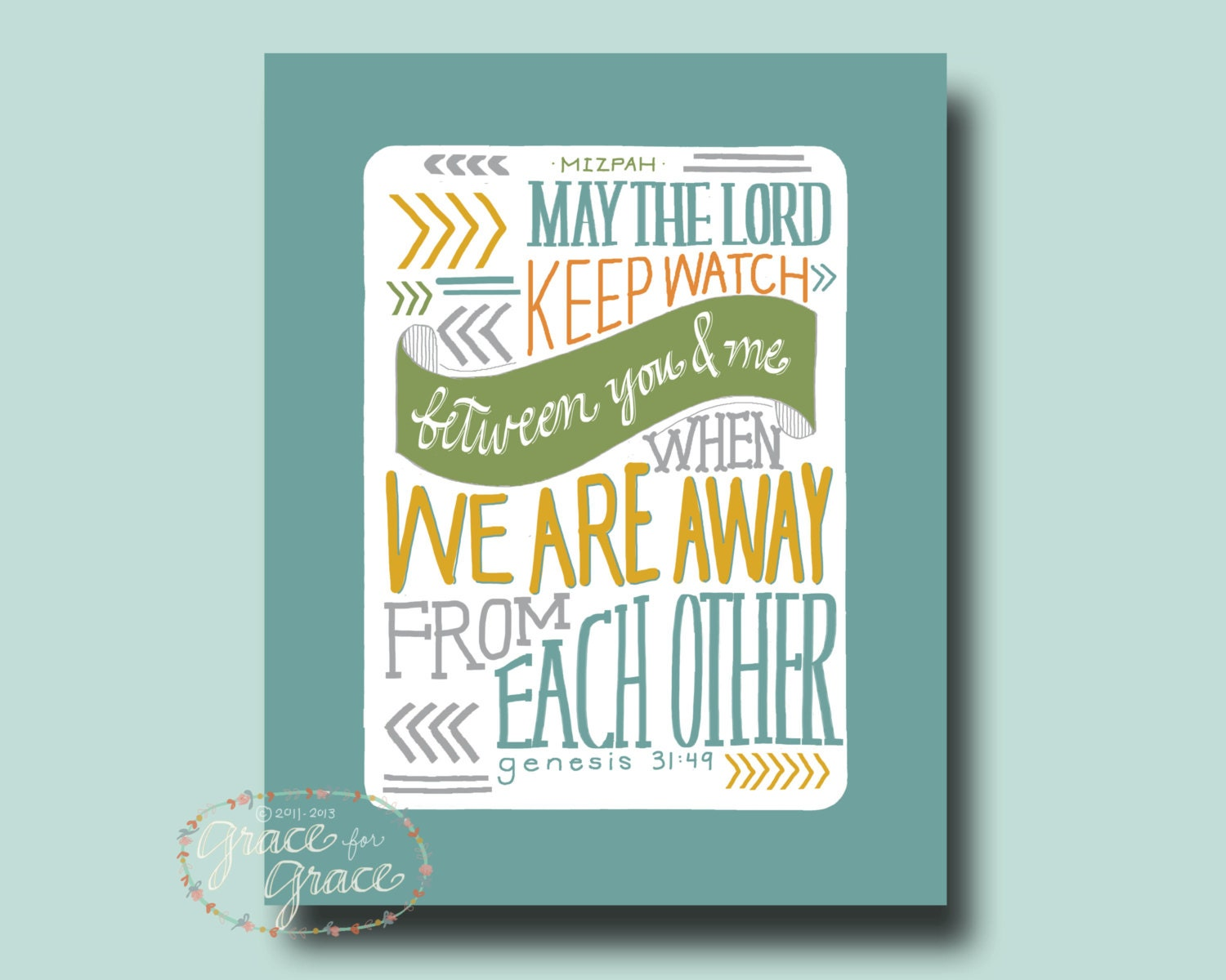 8x10 Fine Art Giclee Print- May the Lord Keep Watch Between You and Me - Hand Typography - Teal, Mustard, Olive, Grey - graceforgrace