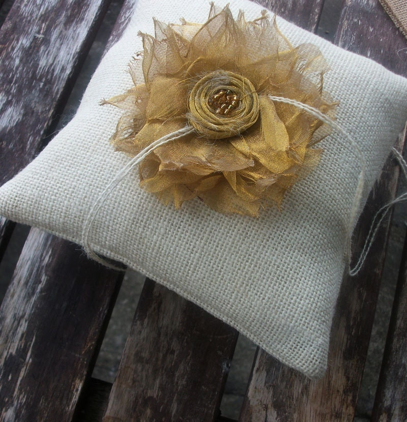 Wedding Ring Bearer Pillow in  Ecru Burlap and Gold Metallic Organza Fabric Flower