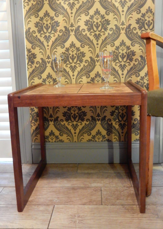 Vintage Teak Tiled Top Table Occasional Table Side Table.RetroShabby chic Boho