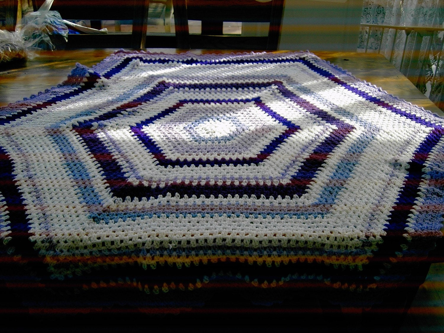 Crochet Blanket - Large Hexigan style blanke with purple, mauve, lavender and white  ID No 67