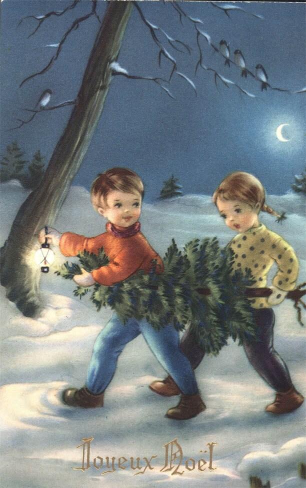 Vintage carte postale Joyeux Noel anglais Merry Christmas Greetings enfants porter xmas Tree 1955