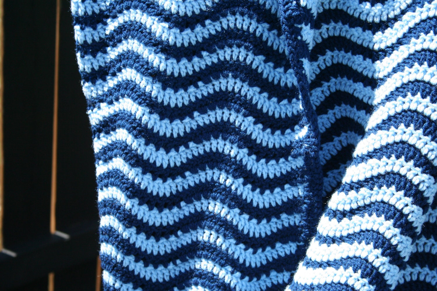 Crochet Zig Zag Afghan : Blue Waves Crochet Ripple Zig Zag Chevron Afghan by JennisCrochet