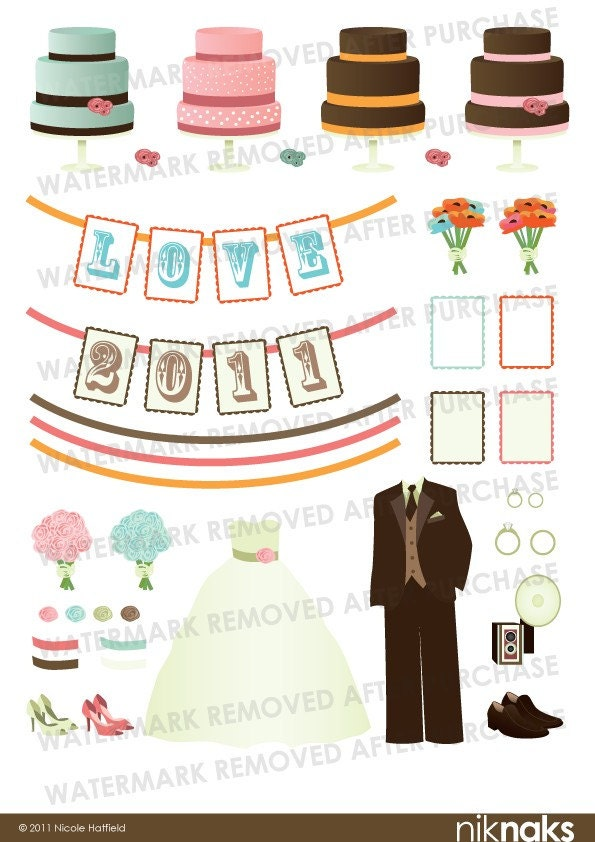 Wedding Cakes Dress Tux Flowers Banners Digital Clipart Set