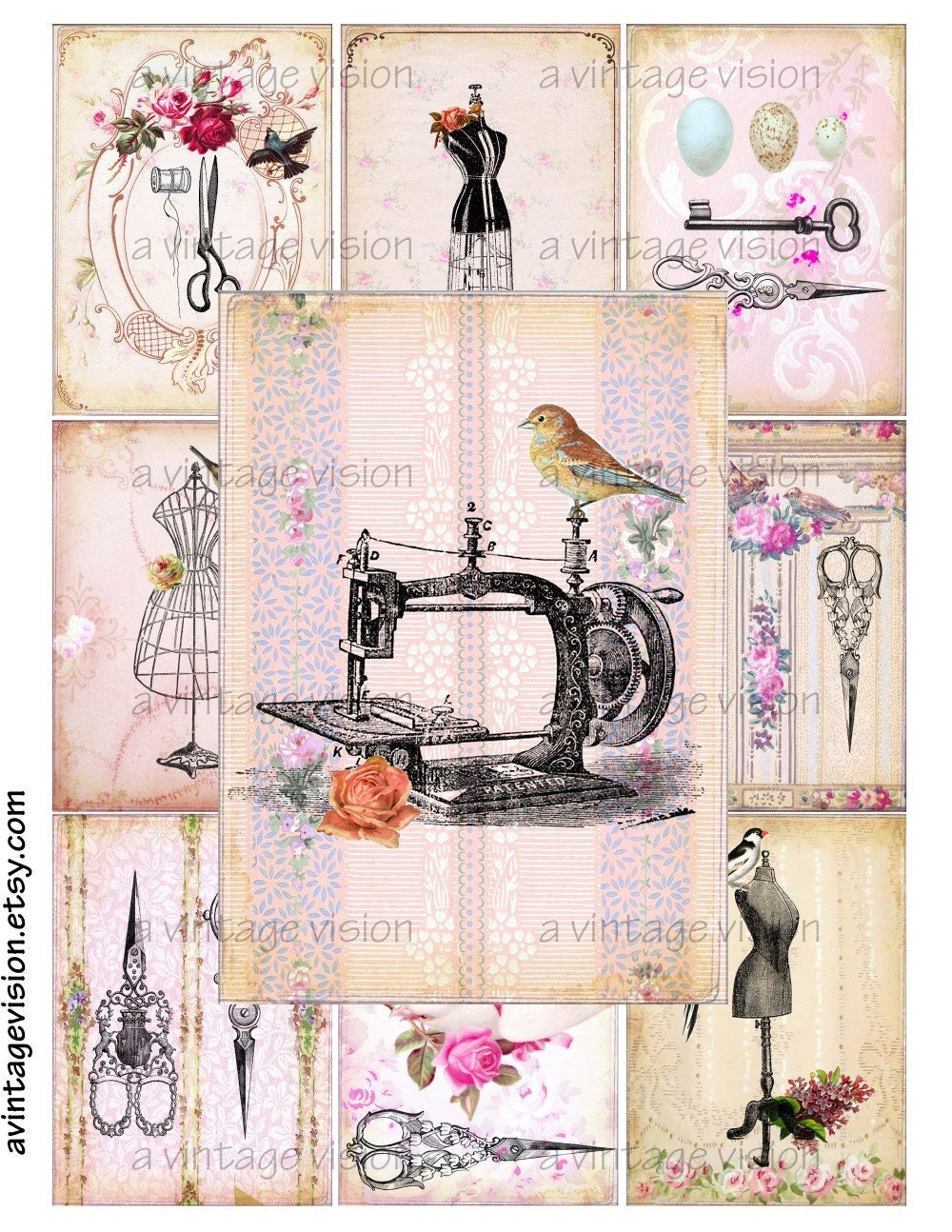Items similar to vintage prints birds in the sewing room digital