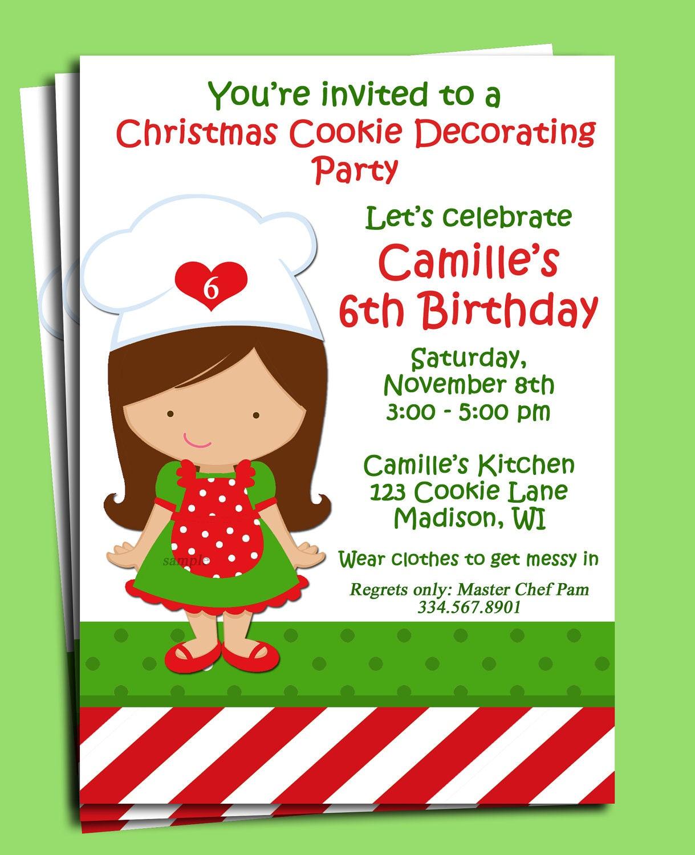 Christmas baker invitation printable cookie swap or cookie