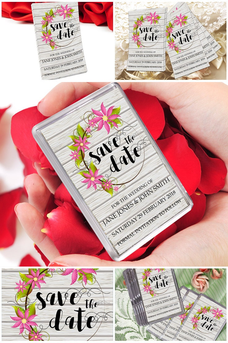 Save The Date Fridge Magnets Floral  Wood Save The Dates Ideas Custom Save The Date Magnets Personalised Wedding Magnets Save Our Dates