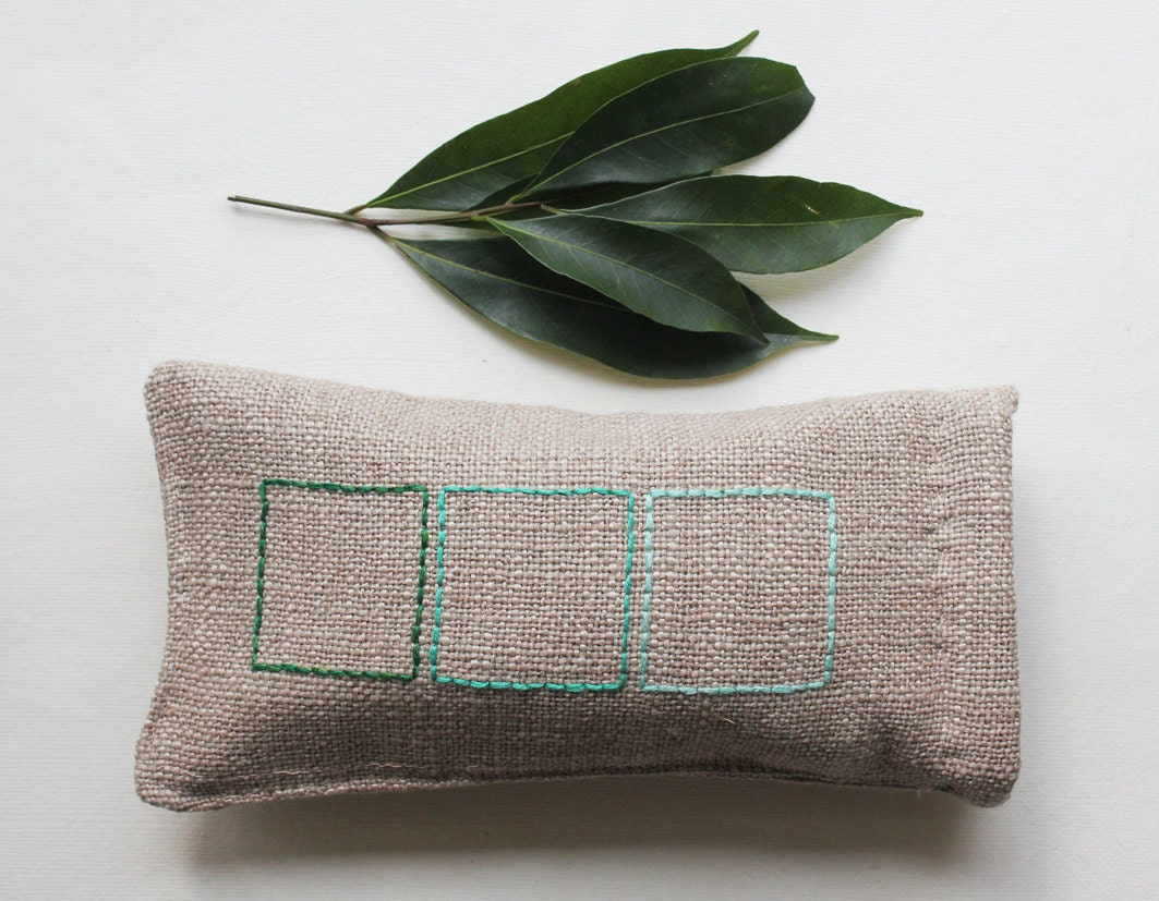 SALE Spring glasses case. Green tea. Fresh geometric. Hand embroidered - GalaBorn