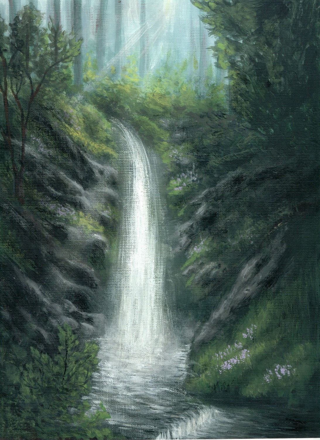 Woodland Magic, Waterfall painting, ethereal, a print of an original acrylic painting to fit 8x10 frame - ArtworkByErinn