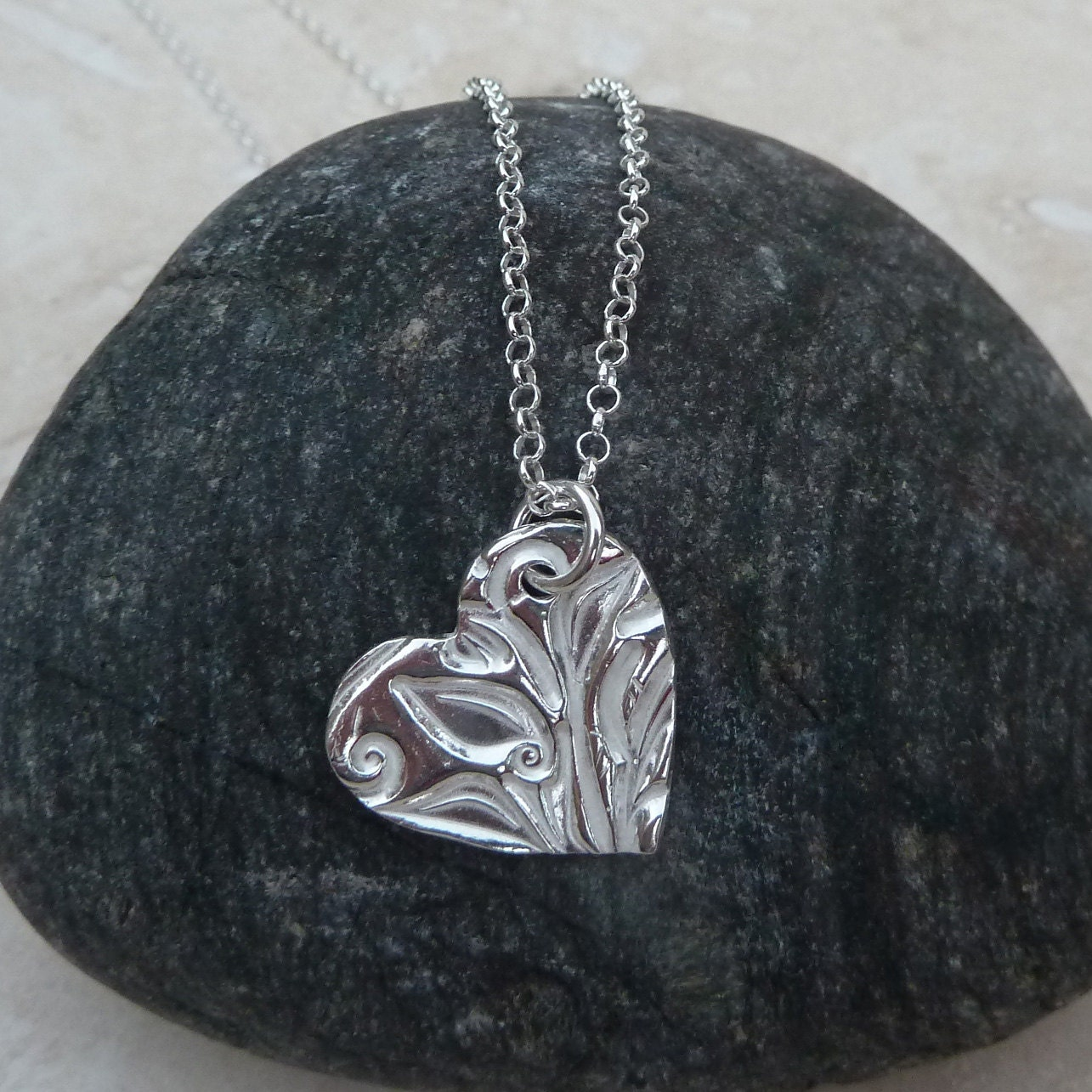Sterling Silver Heart Pendant  PEN001  Texture Pattern Handmade Jewellery Gift Present For Her