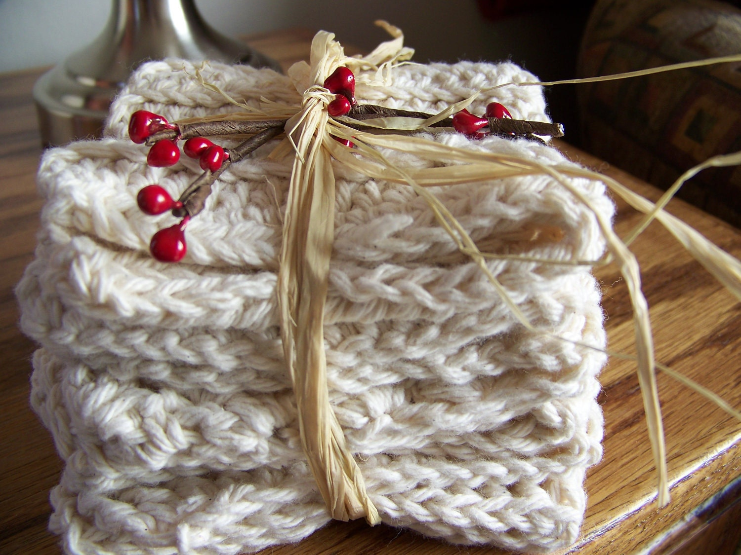 Set of 3 Ecru 100% Cotton Crocheted Dish Cloths Packaged for Gift Giving - MondaysChildPrims