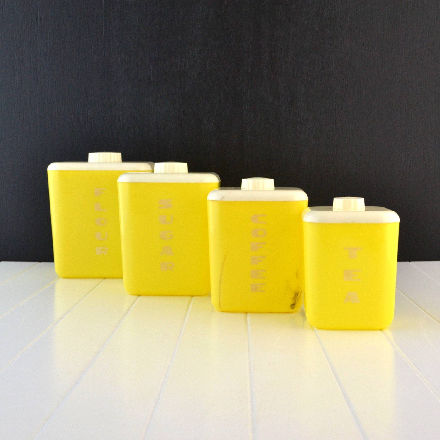 Items Similar To Retro Yellow Kitchen Canisters
