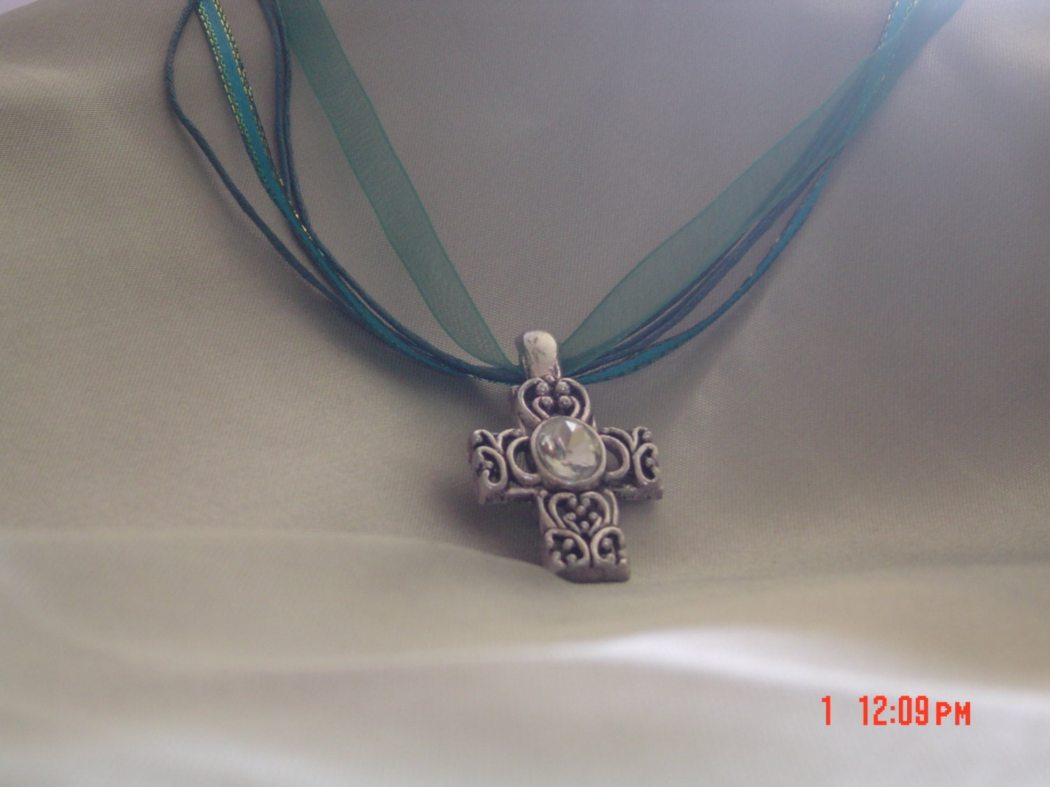 Teal necklace silver crystal women children gift OOAK Handmade Teal Jewlery - LadyBluesBaubles