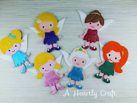 ONE Felt Doll with Fairy Outfit  Sparkly Felt Wings for Non Paper Dolls Flat Doll Felt Play Quiet play.