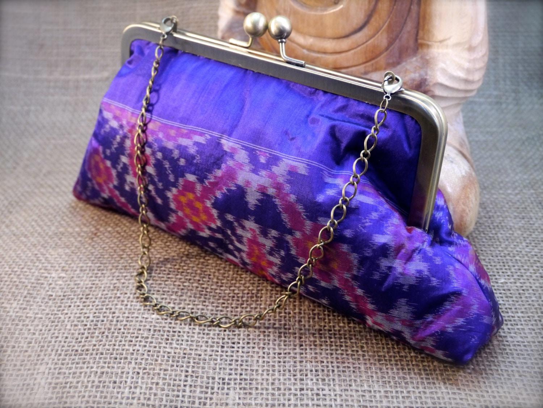 Purple Ikat Tribal Design Sari Clutch P8