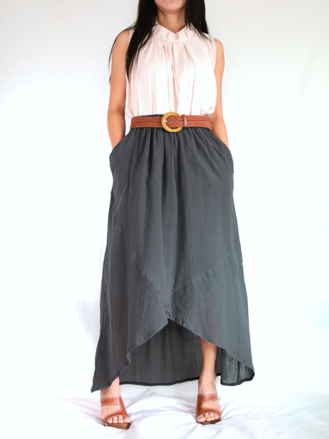 gray cotton maxi skirt high low skirt sk003 by idea2wear