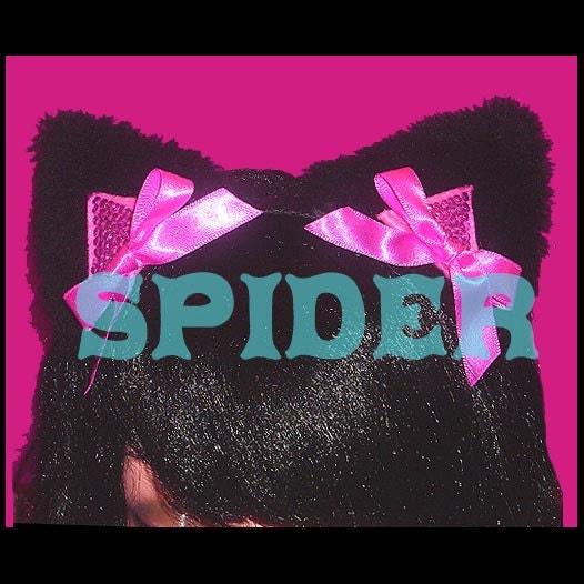 Meow Kitty Pink Bling Bling Kitty Ears  Headband Pink Bows Black Faux Fur Cat Ears