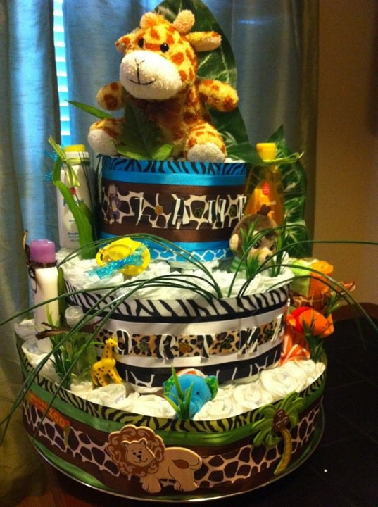 How To Make A Safari Themed Diaper Cake