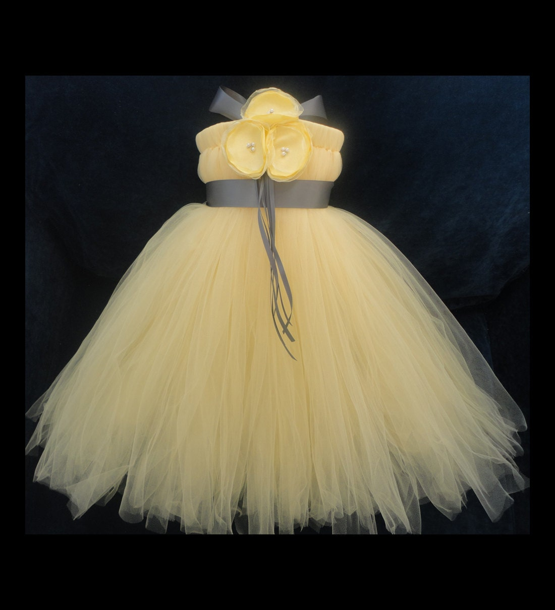 Grey Yellow Flower Girl Dress By StrawberrieRose On Etsy