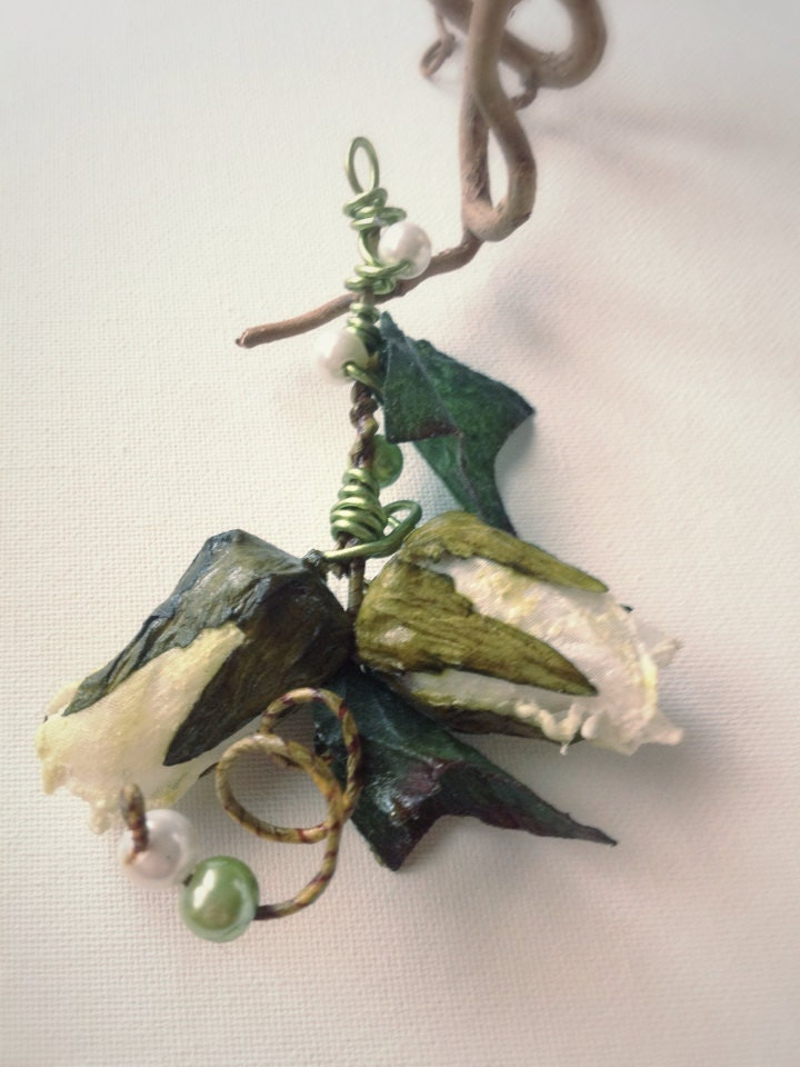 hand made paper fabric flower beaded brooch, elves inspired, leaf - EmeraldsDreams