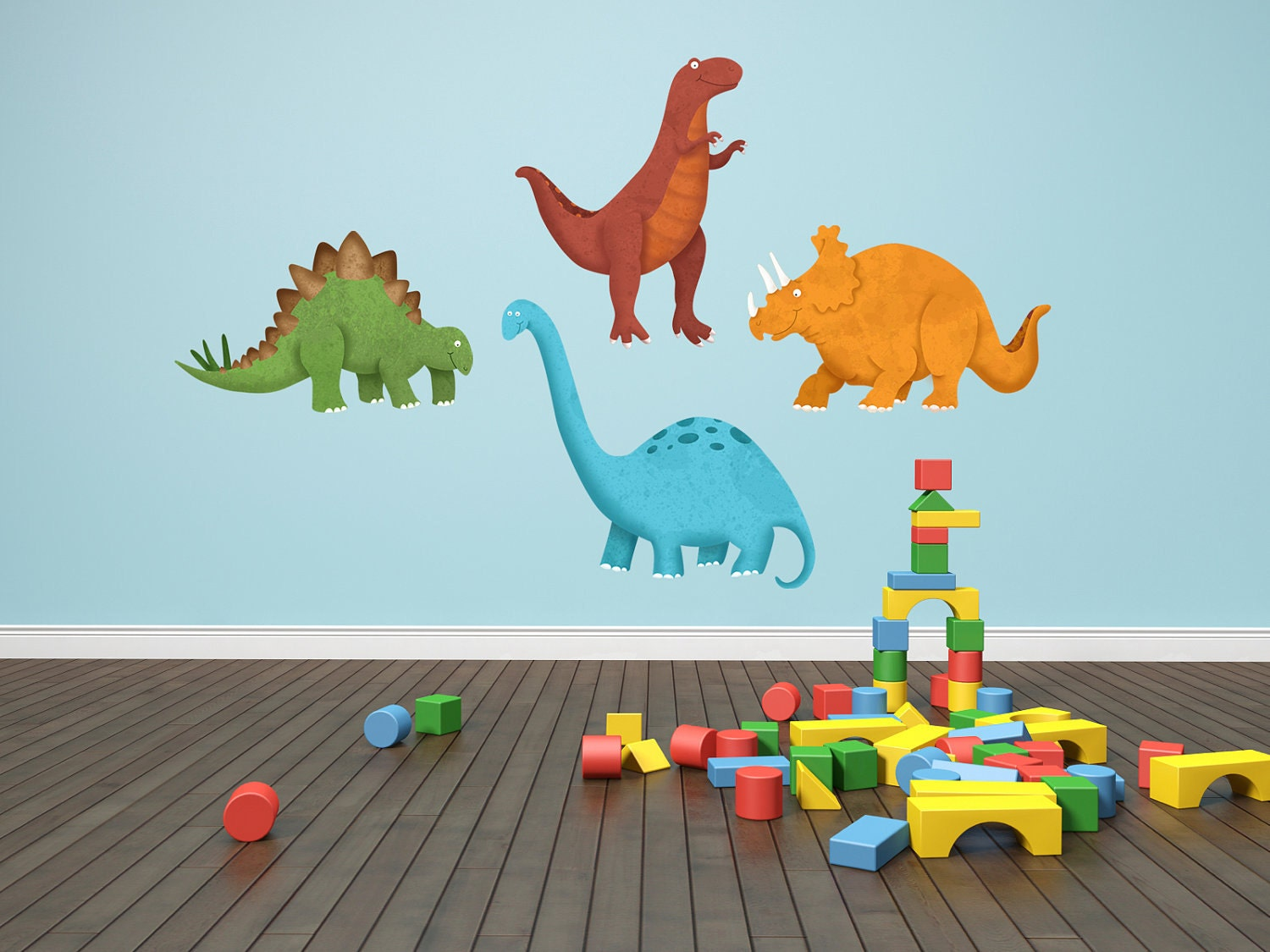 Dinosaur decals dinosaur wall decals 4 piece set by krankykrab for Kids dinosaur room decor