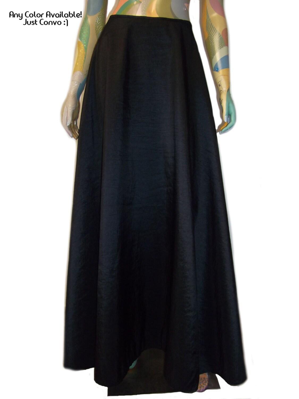plus size maxi skirt black taffeta evening skirt by