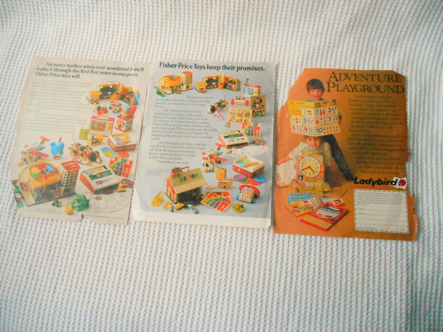 Vintage Adverts Pages ephemera 1970s 80s Fisher Price Ladybird Toys Ads