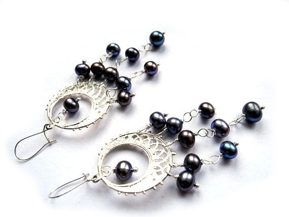 Long silver earrings freshwater pearls, purple plum dark black, beach shell, round circle, unique fantasy pirate girl - NurrgulaJewellery