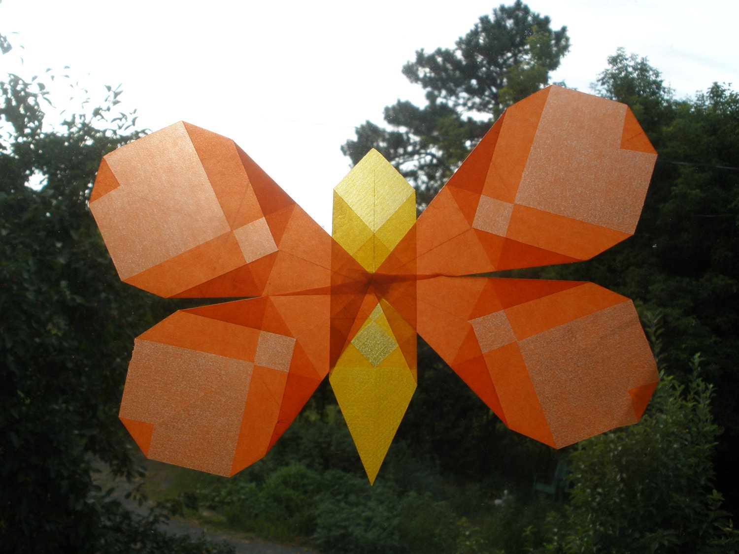 Orange Butterfly Window Decoration (Waldorf Sun Catcher Similar to Translucent Star) - harvestmoonbyhand