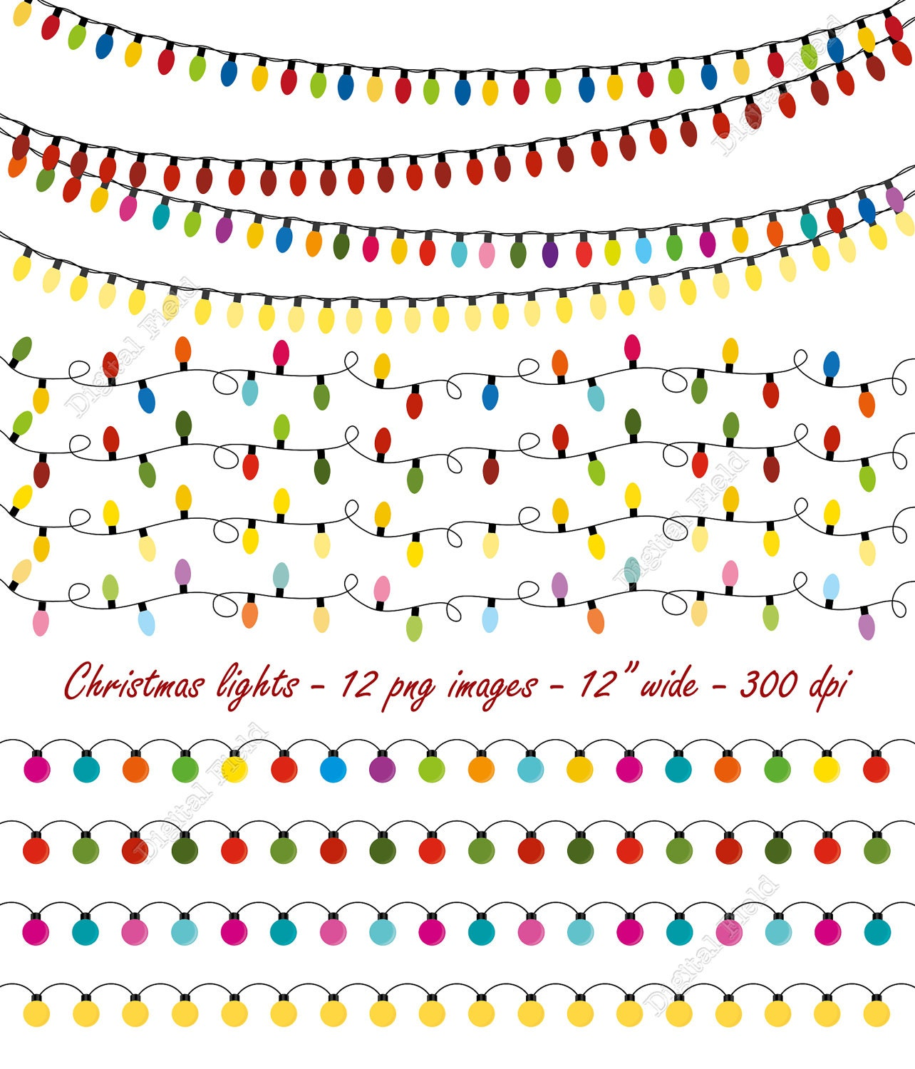 Christmas lights clip art set string lights by digitalfield