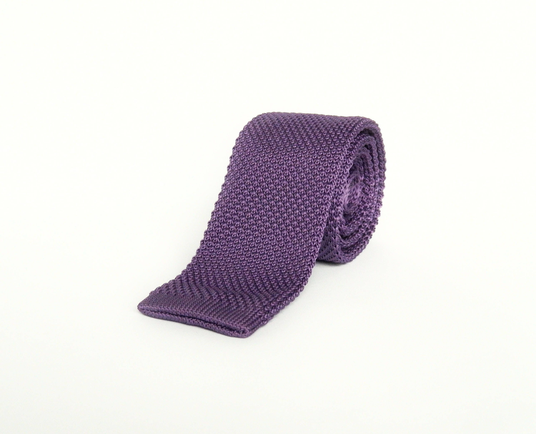 knitted royal purple tie wedding tie gift for men groomsmen purple knit tie