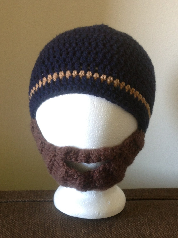 Crochet Pattern Mustache Hat : Crochet PATTERN beard hat in blue with browen beard by ...