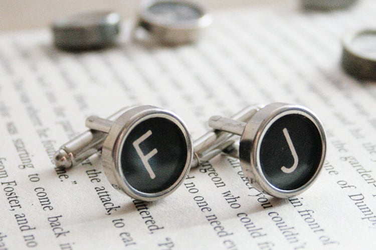 Personalized Cuff links, All letters avaliable, Authentic Typewriter cufflinks, Customized letters, Geek cufflinks, customizable jewelry - KfiatekGiftedHands