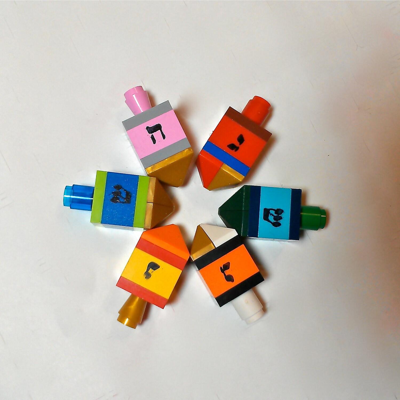 LEGO Dreidel  Set of 6 for Chanukkah - ValGlaser