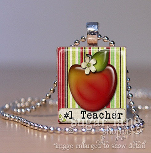No. 1 Teacher Necklace - (Apple, Red, Green, Brown) - Scrabble Tile Pendant with Chain - SugarLaneShoppe