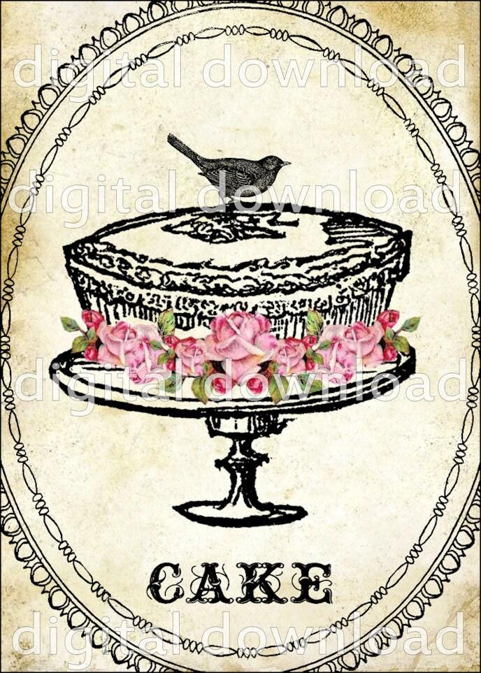 Cake Art Bakery Supplies : Items similar to WHiMSiCaL CaKe ViNTaGe DeSiGN Digital ...