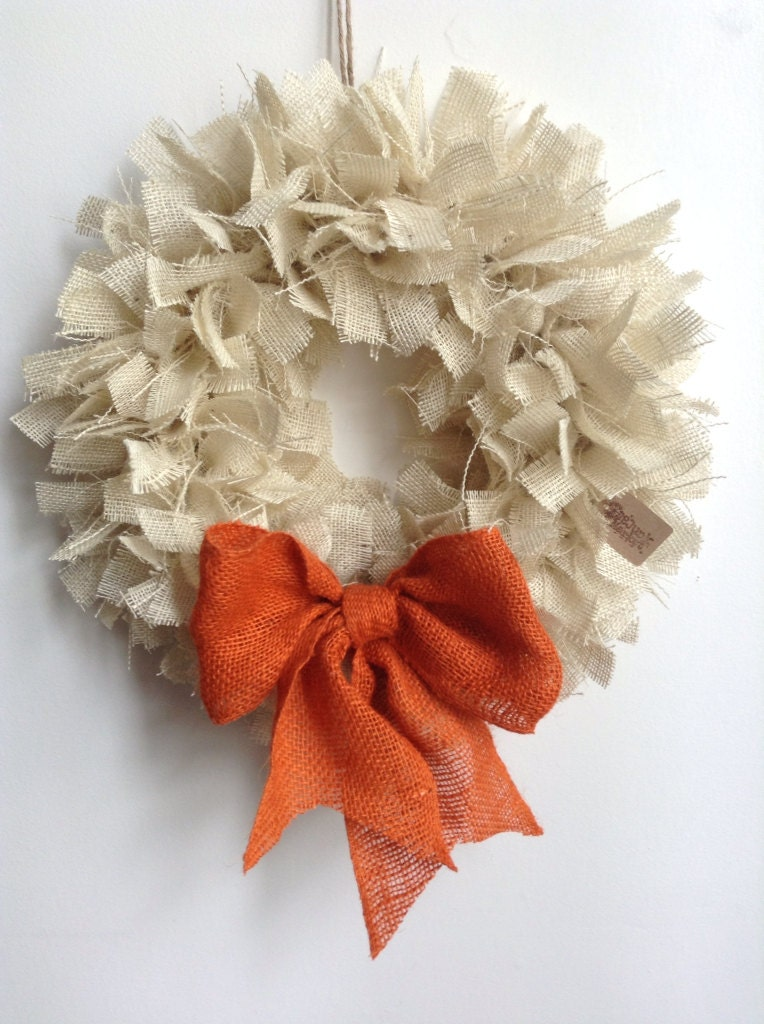 Burlap Fall Wreath, (Ready To Ship), Everyday Wreath, Cream Wreath, White Wreath - JBJunkMarket