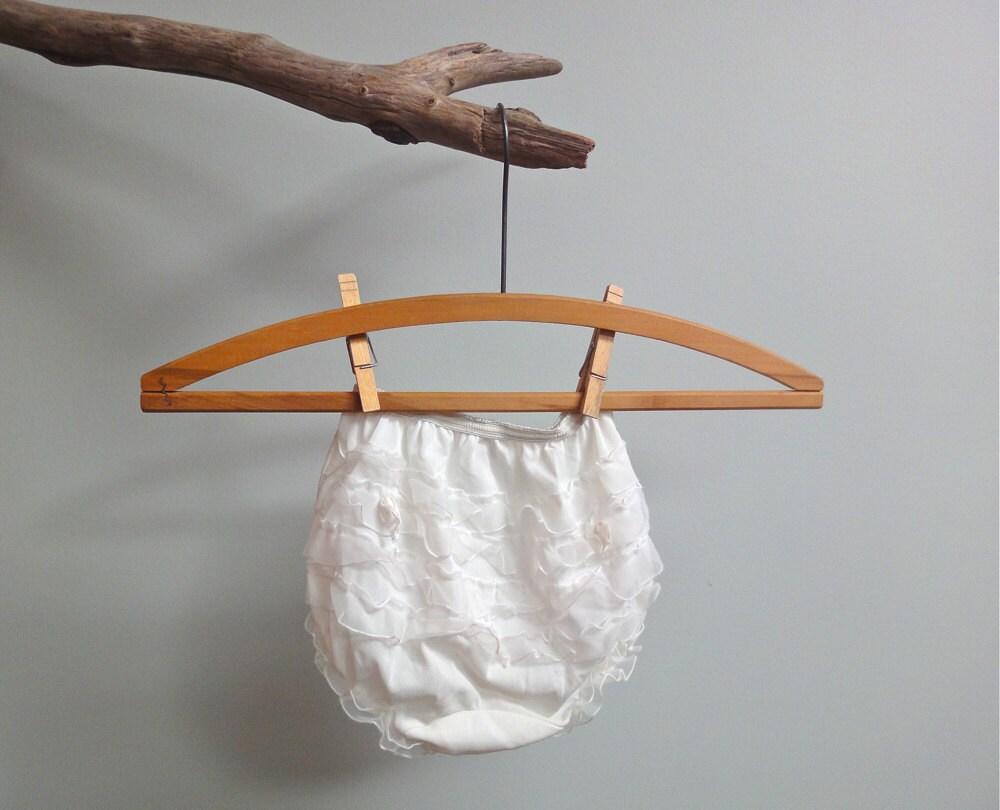 Little Girls Vintage White Nylon Ruffle Panty, Rhumba Panty