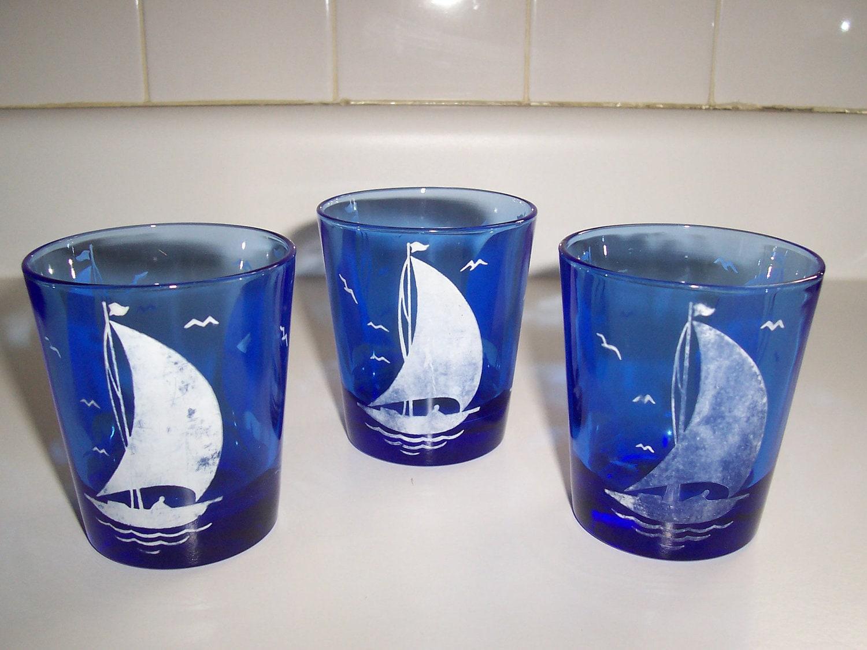 Hazel Atlas Blue Glass Tumblers Cobalt Blue Sailboat By Msink