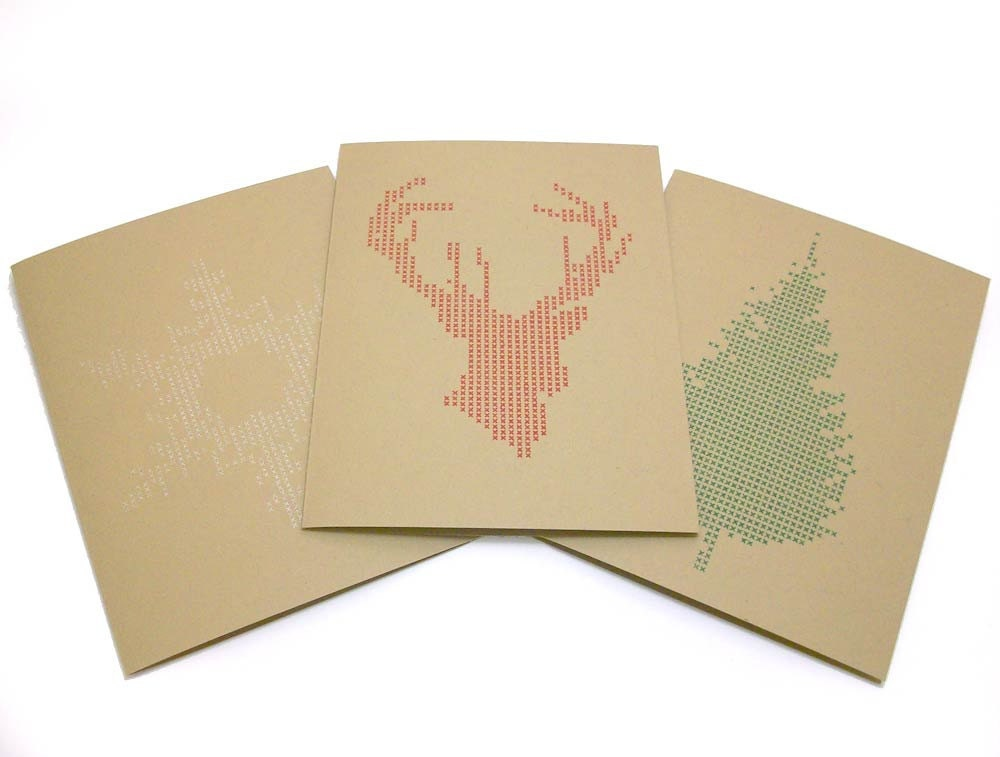 Modern Cross-Stitch Winter Cards- Tree, Deer & Snowflake