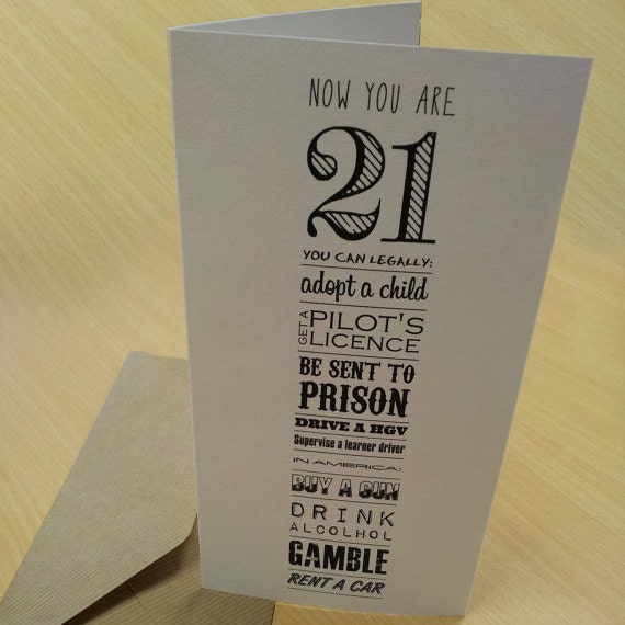 21st Birthday Card 'Now You're 21' By AmandaWishartDesign