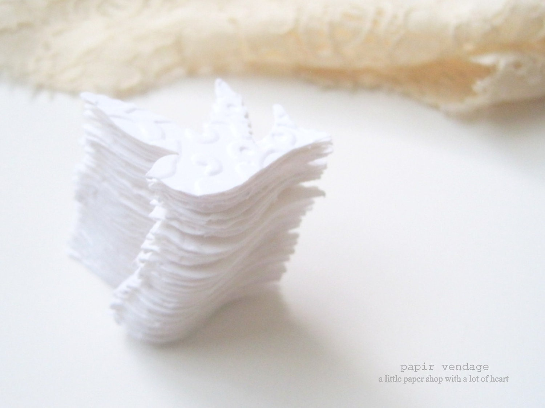 100 White Embossed Sparrow Confetti, Wedding Table decoration, vintage wedding, summer wedding - papirvendage