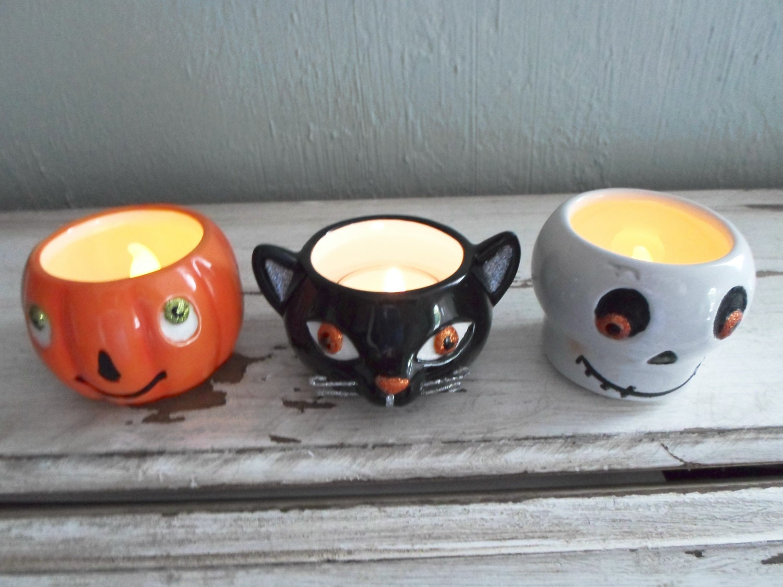 Hallmark Halloween Votive Candle Holders Lot of 3 Pumpkin, Ghost ...