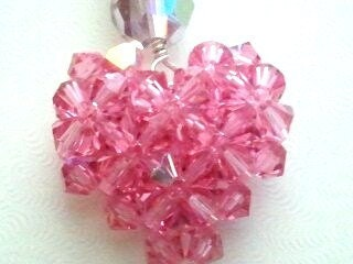 Pink Heart cell phone charm - Swarovski Crystal Beaded  Valentine Gift