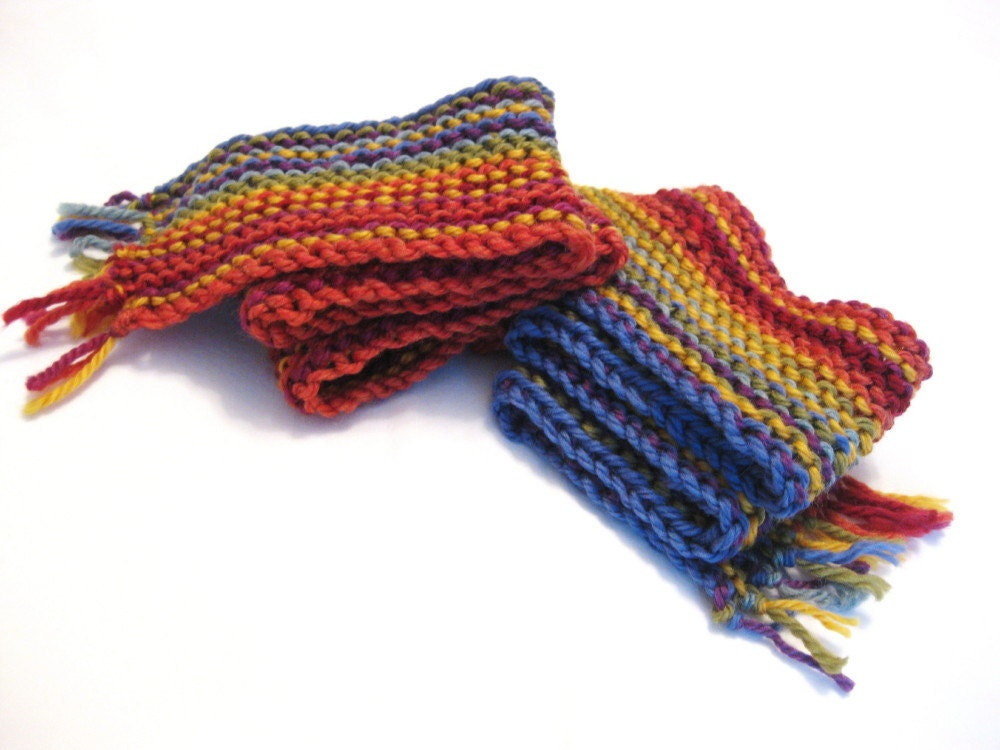 crazy love knit scarf - colorful rainbow stripes, extra long, handknit in soft, natural fibers, machine washable, in stock, ready to ship - BaruchsLullaby