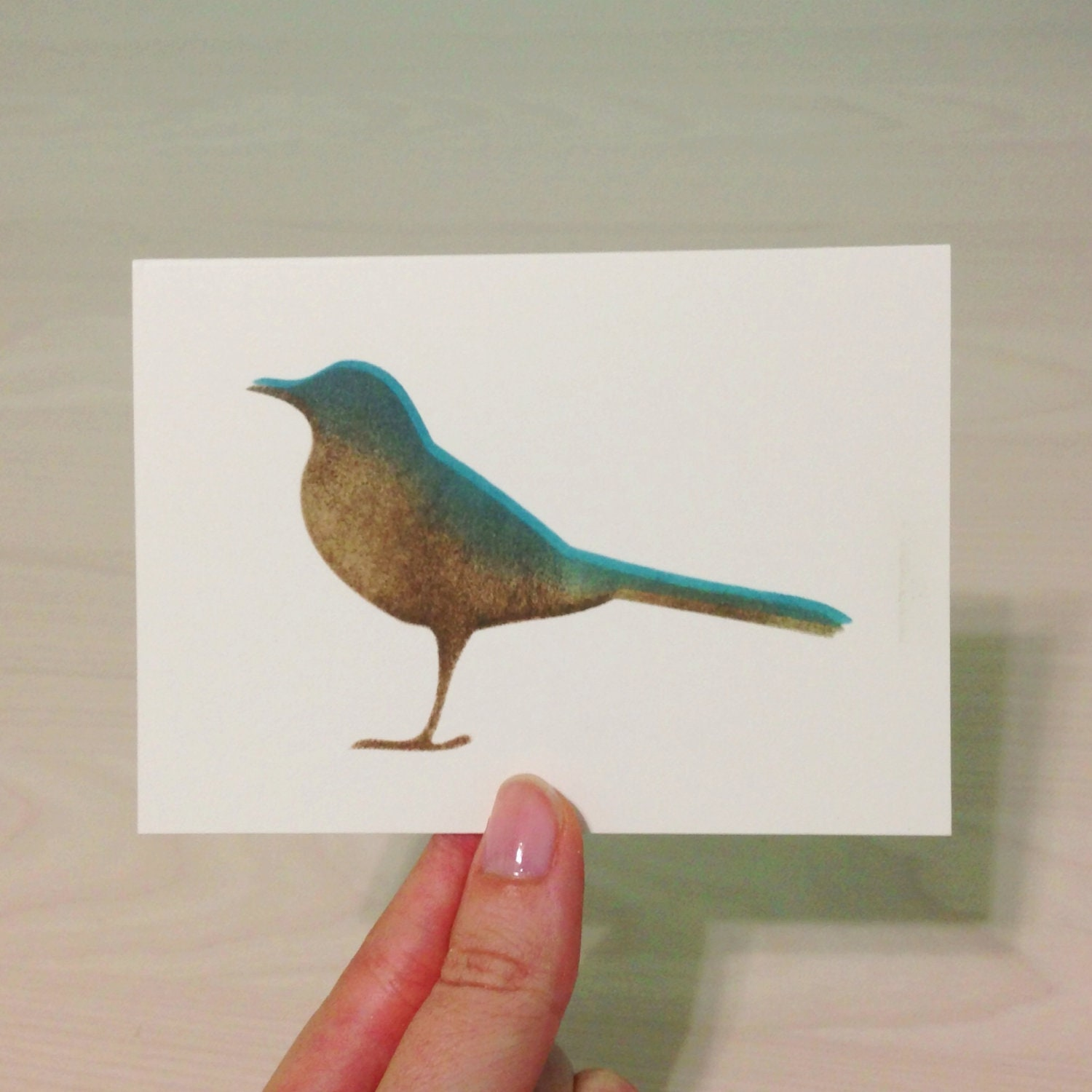 Antique Stamped Bird - Single Card