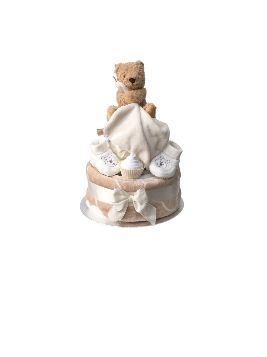 Baby Bear Two Tier Plush Nappy Cake Baby Shower Gift Unisex Gift Neutral new baby gift